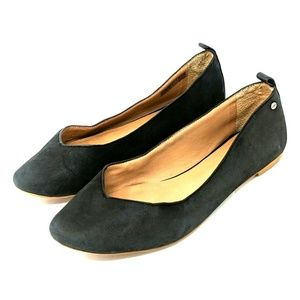 UGG Black Leather Flats Size 8
